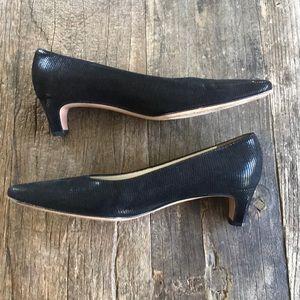 Salvatore Ferragamo Black Suede Sheen Leather Heel